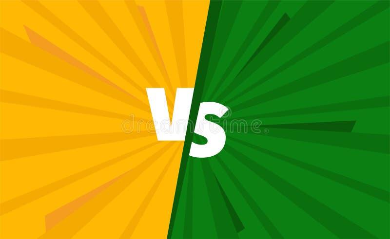 Kolor żółty vs zieleń zespala się versus bitwa ekran Walk tła turniejowi Opozycja kontrast ilustracja wektor