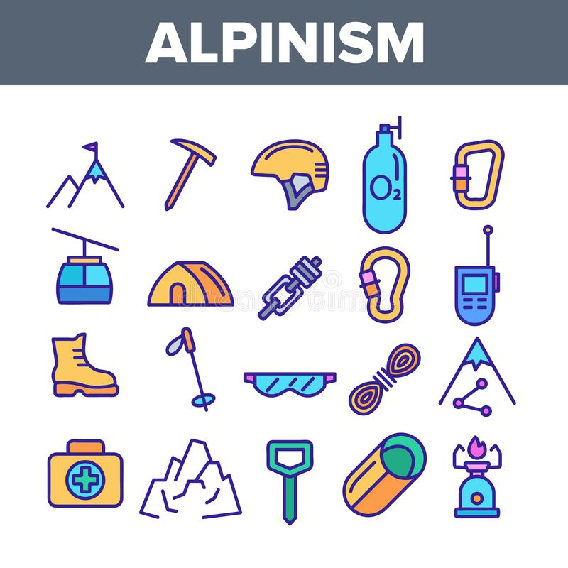 Kolor Alpinistyczny I Mountaineering wyposażenia Wektorowe Liniowe ikony Ustawiać royalty ilustracja