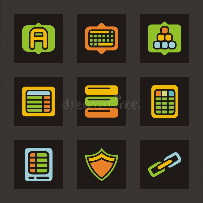 kolor baz danych ikony z cyklu ikony royalty ilustracja