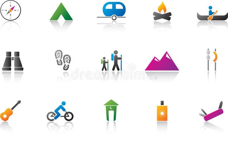 kolor campingowy ikony zestaw royalty ilustracja