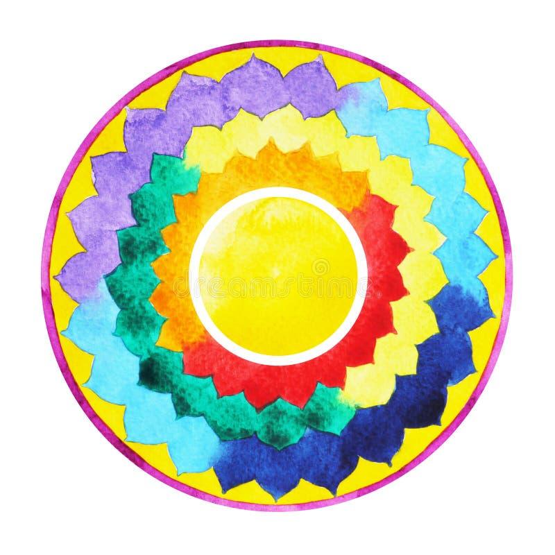 7 kolor chakra mandala symbolu pojęcie, kwitnie kwiecistego, akwarela obrazu ręka rysująca ilustracja wektor