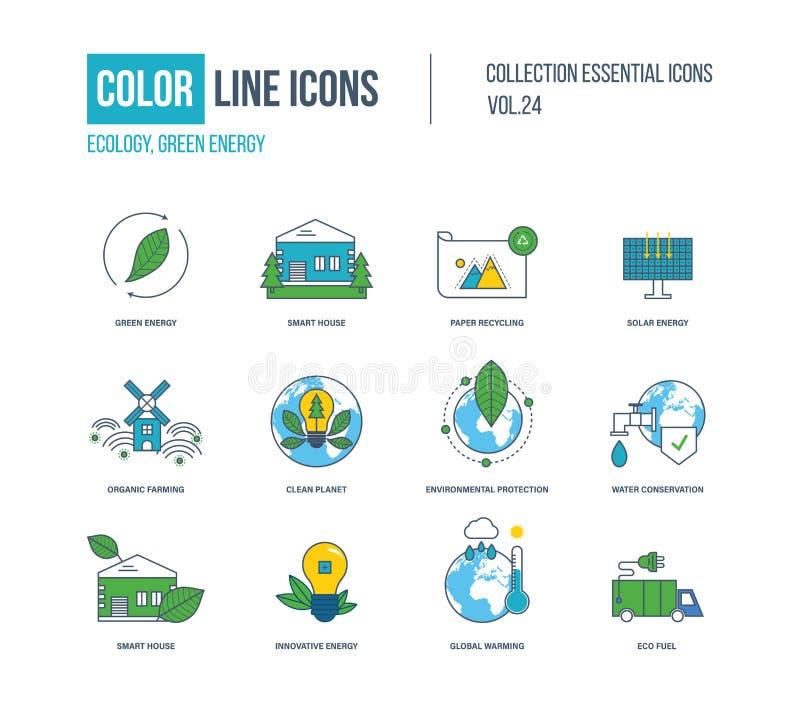 Kolor cienkie Kreskowe ikony ustawiać Ekologia, zielona energia, mądrze dom, ilustracji