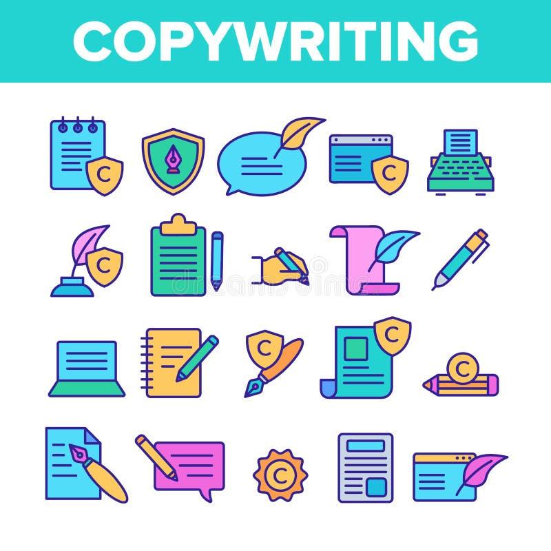 Kolor Copywriting i Blogging Wektorowe Liniowe ikony Ustawiać ilustracji
