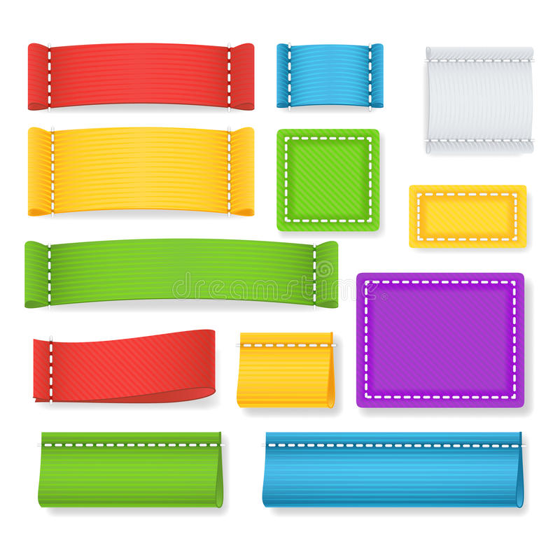 Kolor etykietki tkaniny pustego miejsca wektor Inkasowe Kolorowe Puste etykietki, odznaki Z Copyspace Dla teksta Odizolowywająceg ilustracja wektor