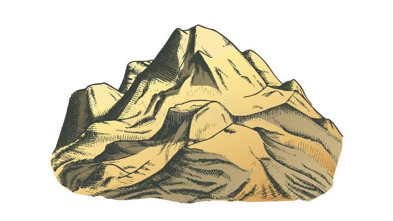 Kolor góry krajobrazu Śnieżna Nakrywkowa ręka Rysujący wektor royalty ilustracja
