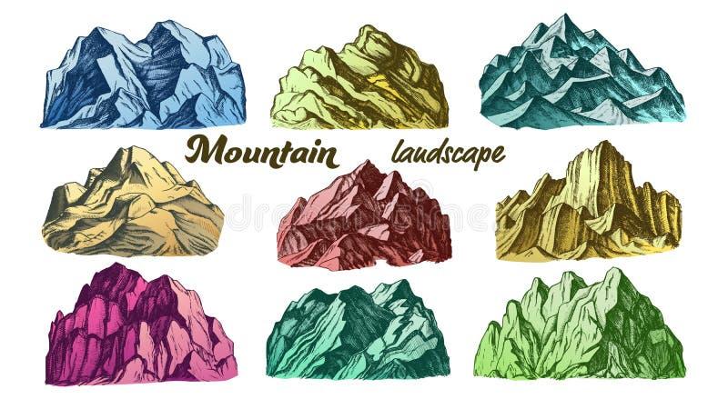 Kolor góry krajobrazu rocznika Ustalony wektor royalty ilustracja