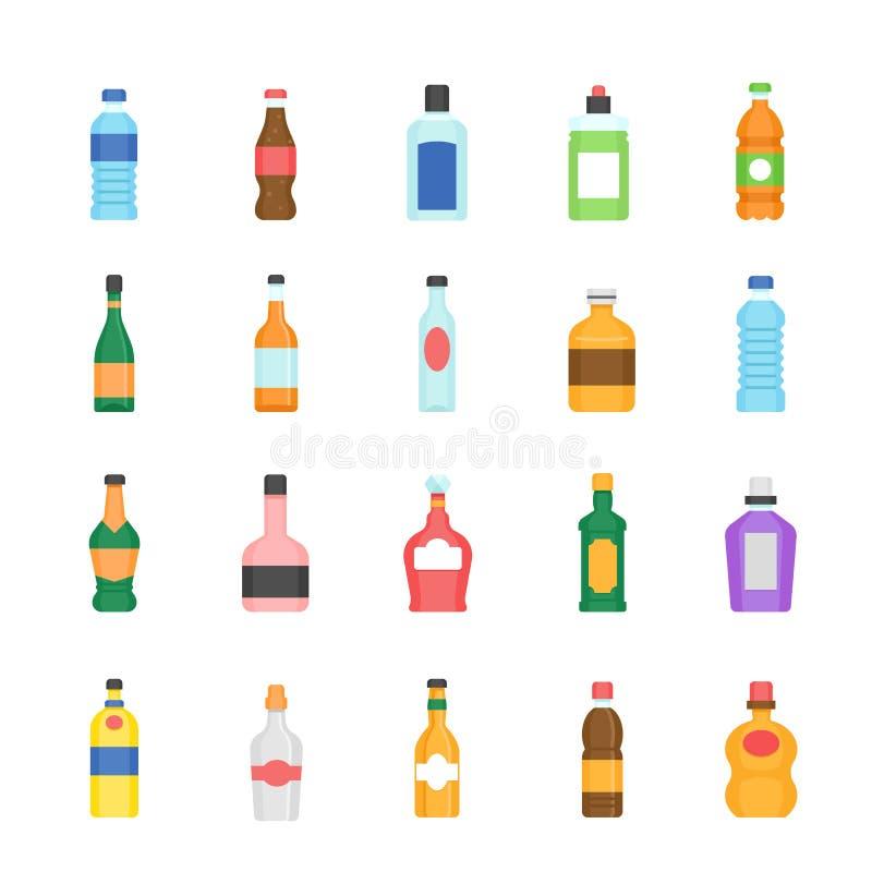Kolor ikona ustawiająca - butelka i napój royalty ilustracja
