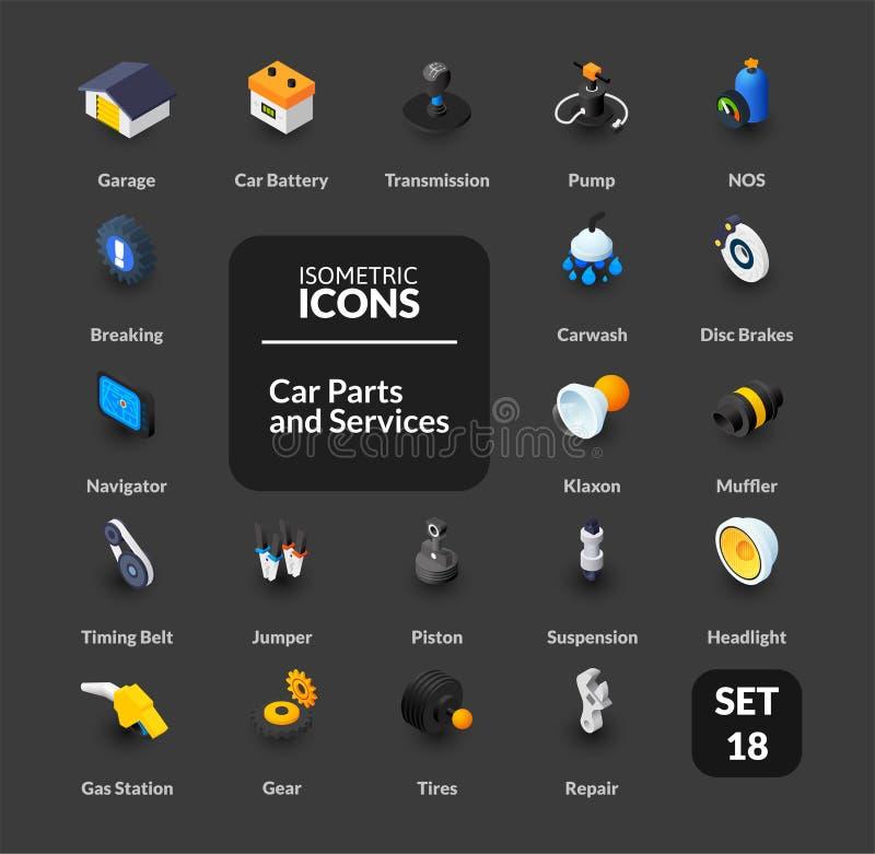 Kolor ikony ustawiać w płaskim isometric ilustracja stylu, wektorowa kolekcja royalty ilustracja
