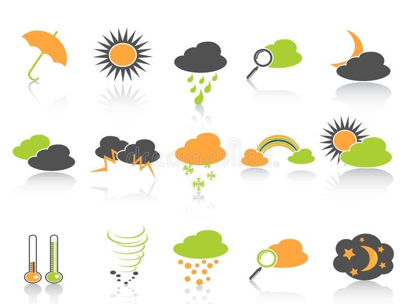 kolor ikony ustawiają prostą pogodę royalty ilustracja