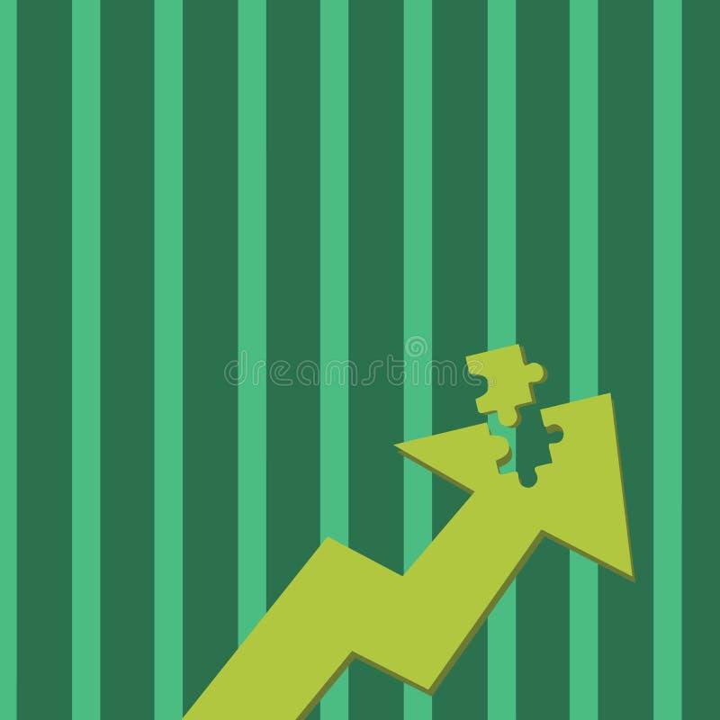 Kolor ilustracji Strzałkowaty Wskazywać Oddolny z Oddzielną częścią jak wyrzynarki łamigłówki płytki kawałek Kreatywnie tła pojęc royalty ilustracja