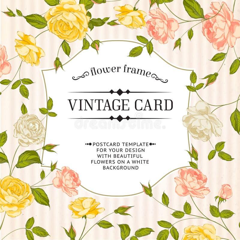 Kolor karta z wiosen różami w rocznika stylu. ilustracji
