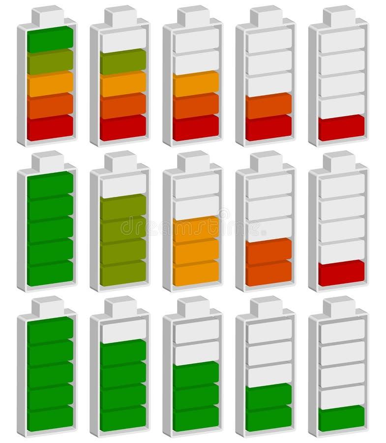 Kolor kodujący bateria równy wskaźnik Bateryjny działający niski, recha/ royalty ilustracja