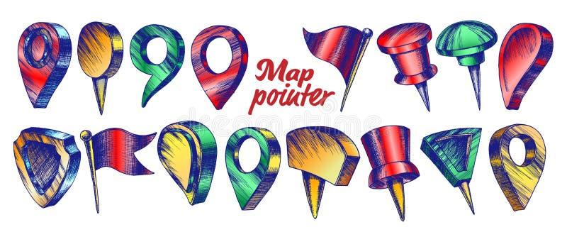 Kolor kolekcja Różnego mapa pointeru Ustalony wektor ilustracja wektor
