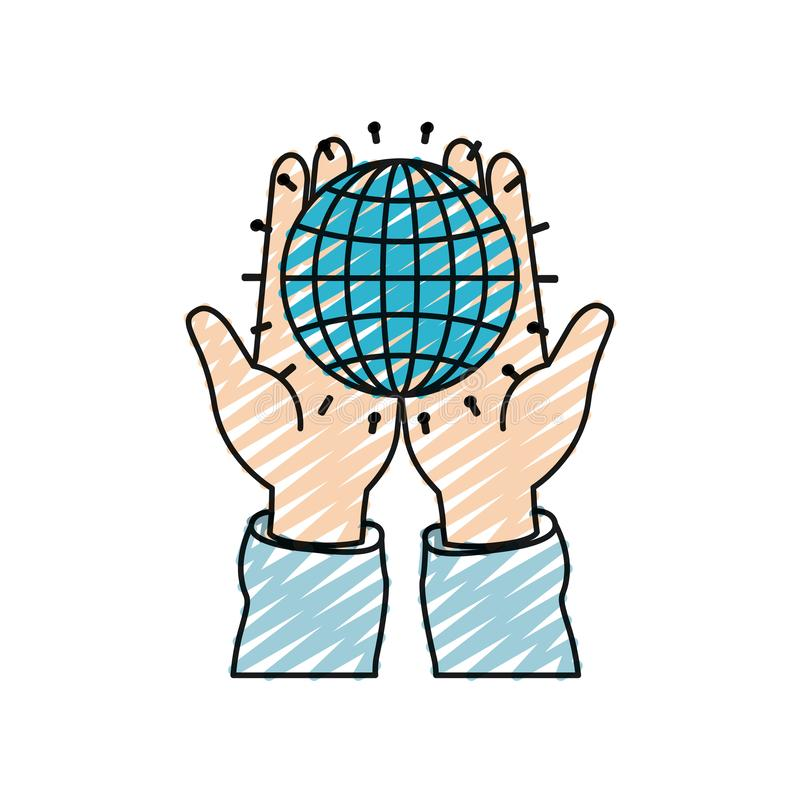 Kolor kredkowej sylwetki frontowy widok ręki trzyma w palmach kuli ziemskiej mapę z liniami ilustracji