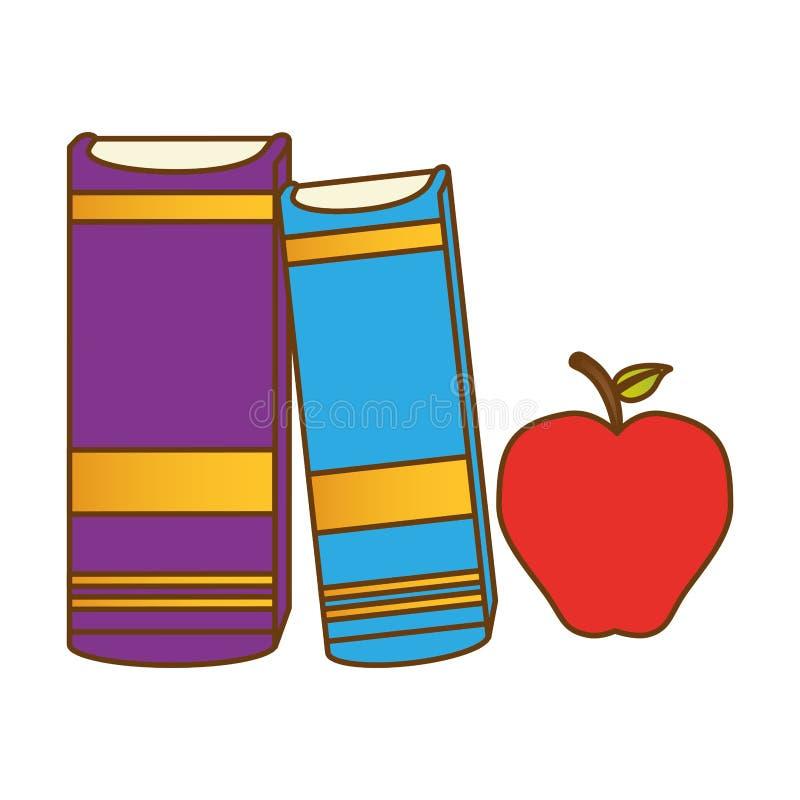 Kolor książki obok jabłka ilustracja wektor