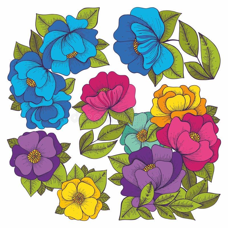 kolor kwiatów rysunkowy wręcza jej ranek bielizny jej ciepłych kobiety potomstwa kreskówki serc biegunowy setu wektor ilustracji