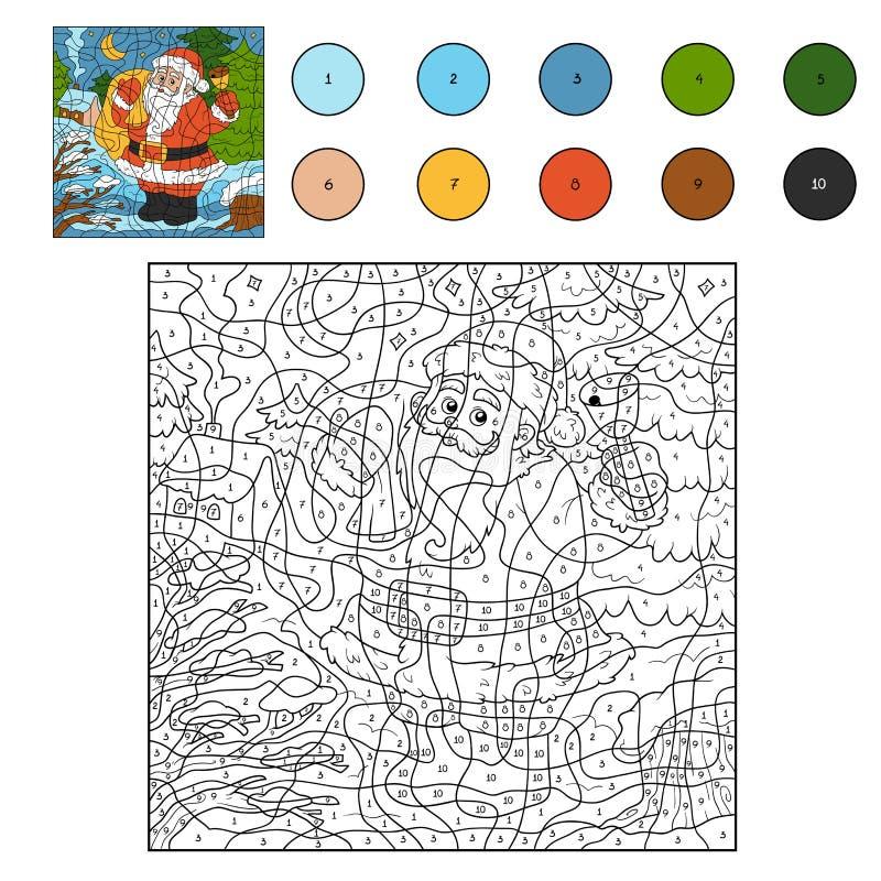 Kolor liczbami: Święty Mikołaj i dzwon ilustracja wektor