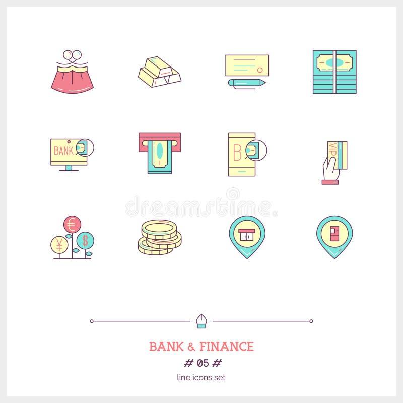 Kolor linii ikona ustawiająca pieniądze robi, deponuje pieniądze i pieniężny objec, ilustracja wektor