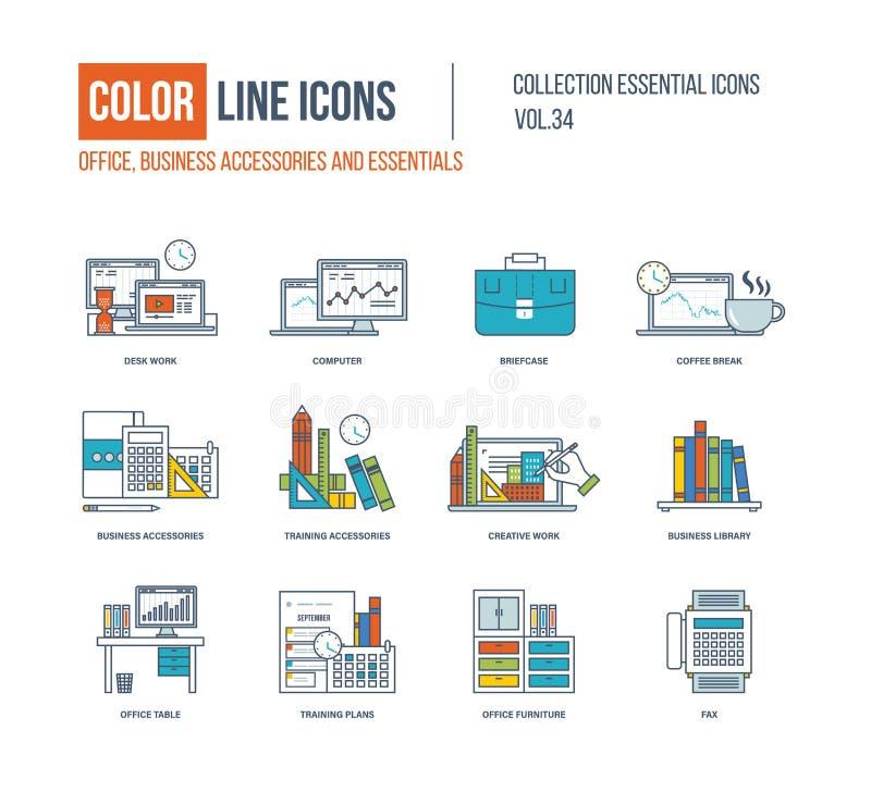 Kolor linii ikony inkasowe Biznesowi akcesoria i podstawy ilustracji