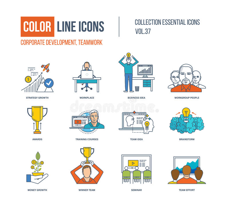 Kolor linii ikony inkasowe Korporacyjny rozwój, pracy zespołowej pojęcie royalty ilustracja