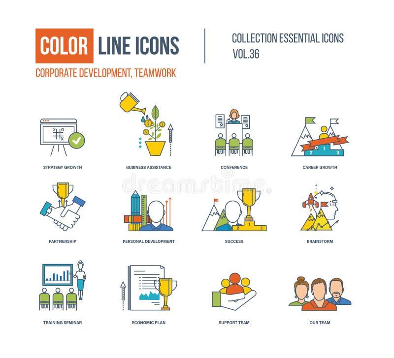 Kolor linii ikony inkasowe Korporacyjny rozwój, pracy zespołowej pojęcie ilustracji