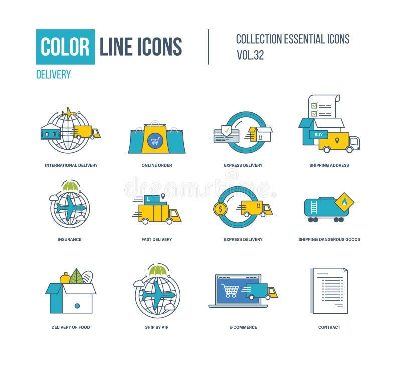 Kolor linii ikony inkasowe Międzynarodowa dostawa, wyraża i pości royalty ilustracja