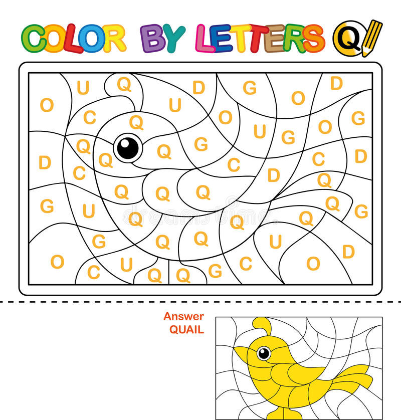 Kolor listem Łamigłówka dla dzieci przepiórka royalty ilustracja