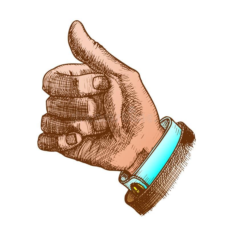 Kolor Męska ręka Robi gestowi kciukowi Dotykać W górę wektoru royalty ilustracja