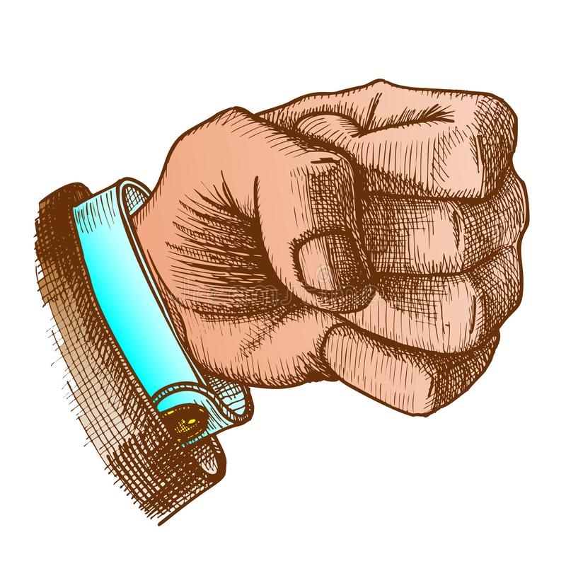 Kolor Męska ręka Robi pięść gesta wektorowi royalty ilustracja