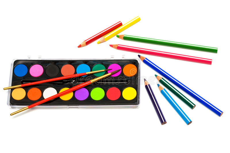 kolor maluje ołówki fotografia stock
