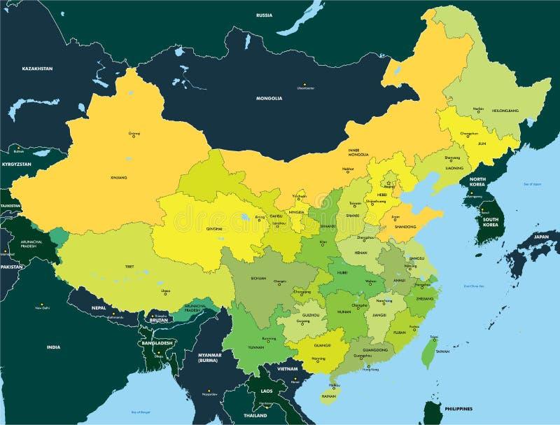 Kolor mapa Chiny royalty ilustracja