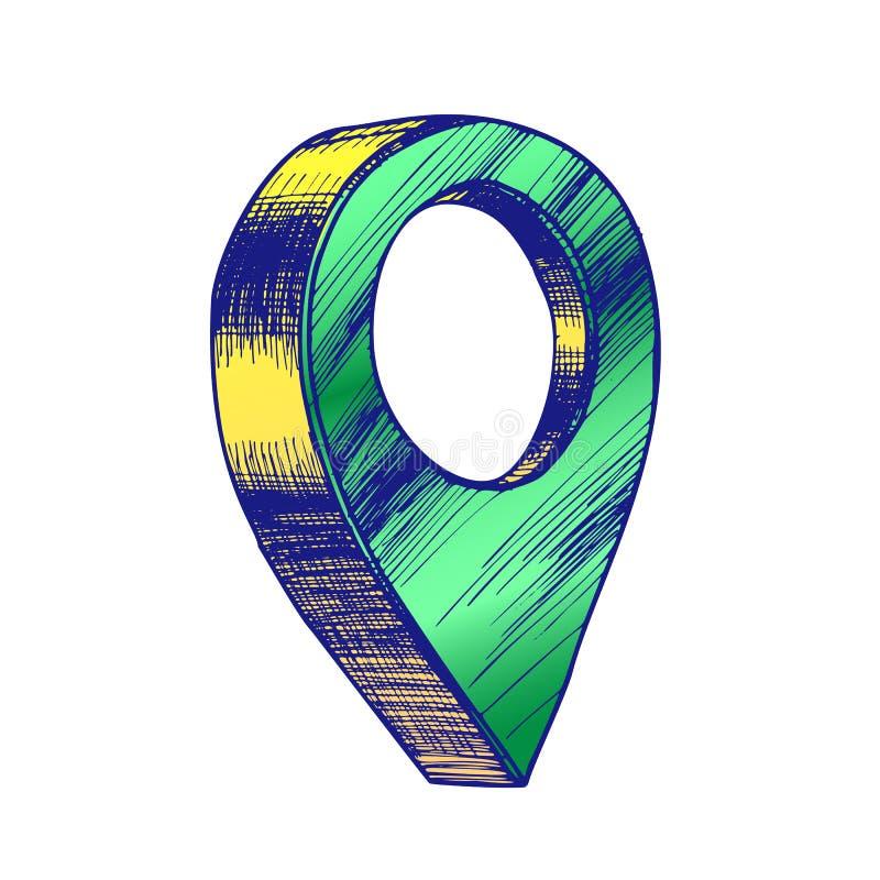 Kolor mapy pointeru Gps lokacji znaka szczegółu symbolu wektor royalty ilustracja