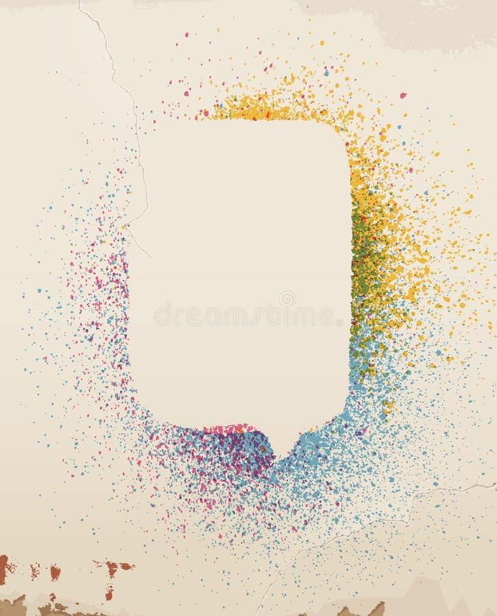 Kolor mowy kiść malujący bąbel na starej ścianie. ilustracja wektor