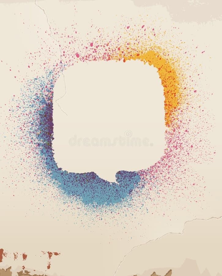 Kolor mowy kiść malujący bąbel na starej ścianie. ilustracji