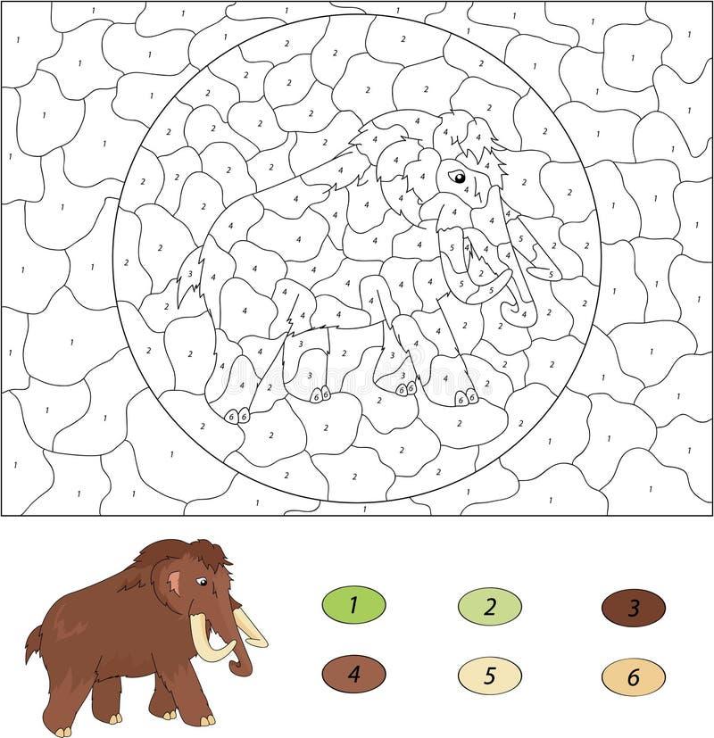 Kolor numerową edukacyjną grze dla dzieciaków Kreskówka mamut Vect ilustracja wektor