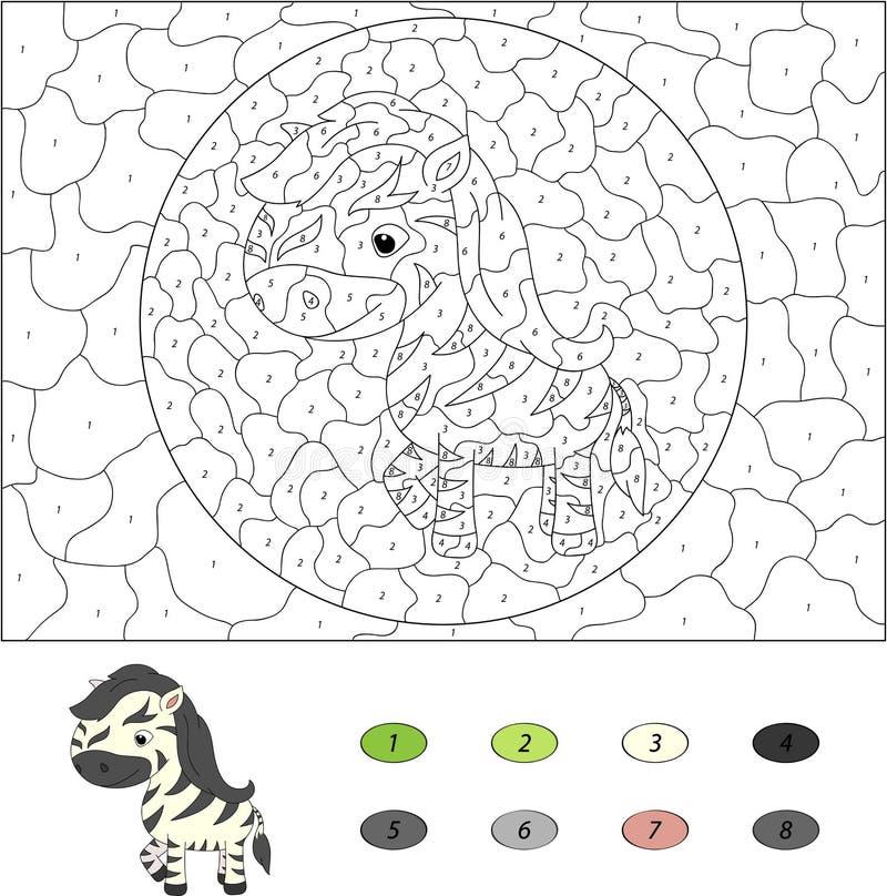 Kolor numerową edukacyjną grze dla dzieciaków kreskówki zebra wektor ilustracja wektor