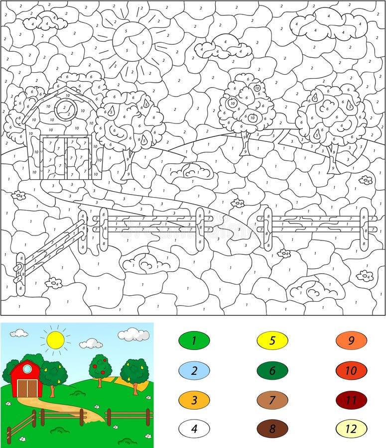Kolor numerową edukacyjną grze dla dzieciaków Wiejski krajobraz z ilustracja wektor
