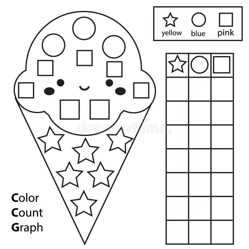 Kolor, obliczenie i wykres, Edukacyjni dzieci gemowi Koloru lody i liczenie kszta?ty Printable worksheet dla dzieciak?w i berbeci ilustracji