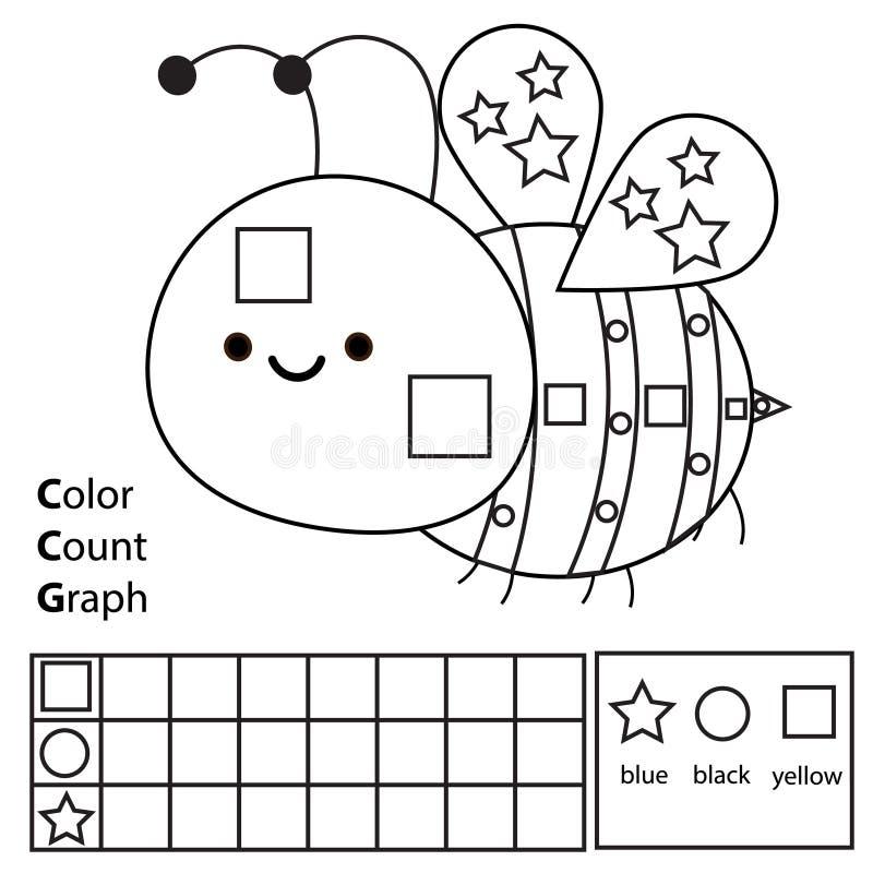 Kolor, obliczenie i wykres, Edukacyjni dzieci gemowi Kolor kreskówki pszczoła i liczenie kształty Printable worksheet dla dziecia ilustracja wektor