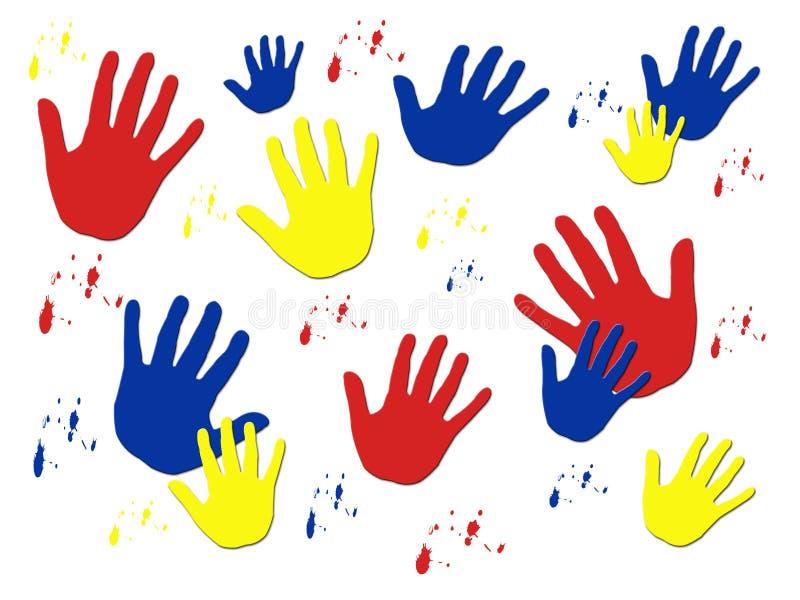 kolor odciski ręki ilustracji
