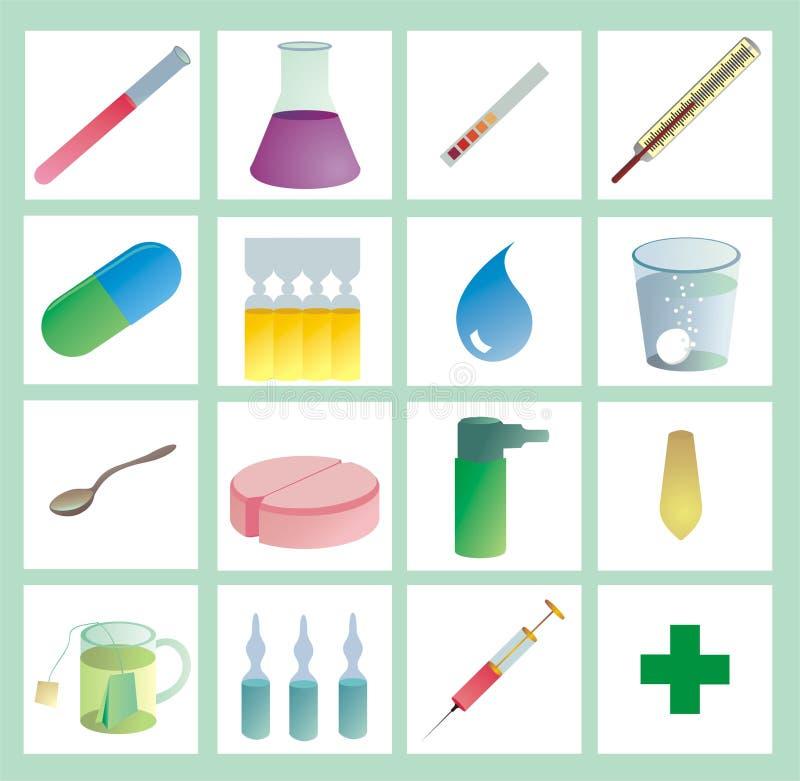 kolor opieki zdrowotnej iconset ilustracja wektor