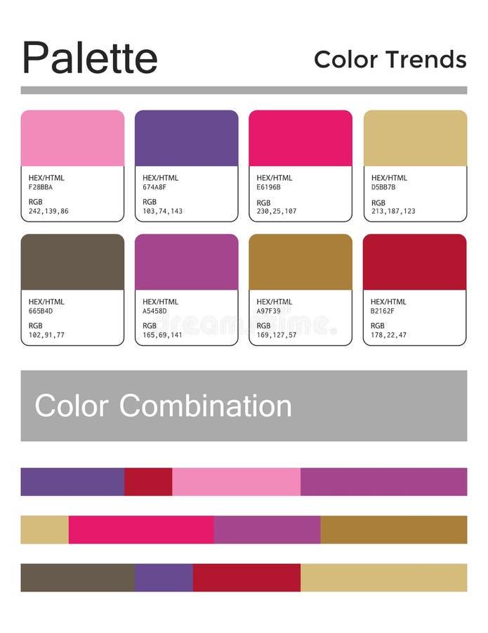 Kolor paleta, harmonijna kombinacja, kody i imiona, Moda barwi dla u?ywa? w sieci, odziewa, wn?trza i tkaniny ilustracji