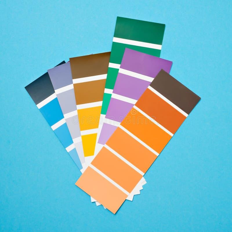 Kolor paleta z różnorodnymi próbkami Farba wyboru katalog zdjęcie stock