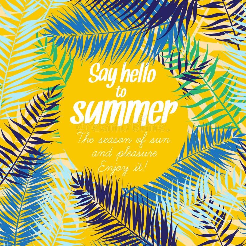 Kolor palmy liści rama dla twój teksta Mieszkanie styl ilustracja wektor