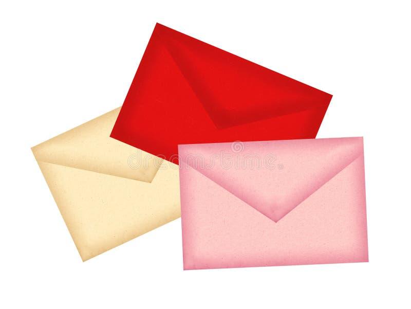Kolor pisze list koperty odizolowywać na bielu zdjęcie royalty free