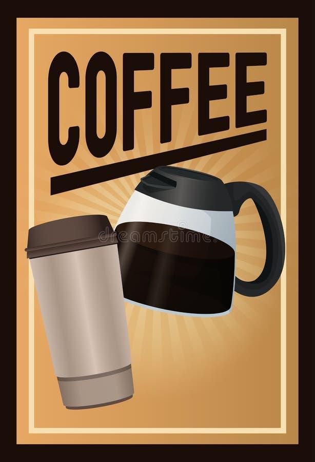 Kolor plakatowa kawa z, rozporządzalny dla gorących napojów i ilustracja wektor