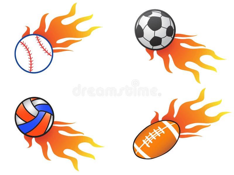 Kolor pożarniczej piłki ikony ustawiać royalty ilustracja
