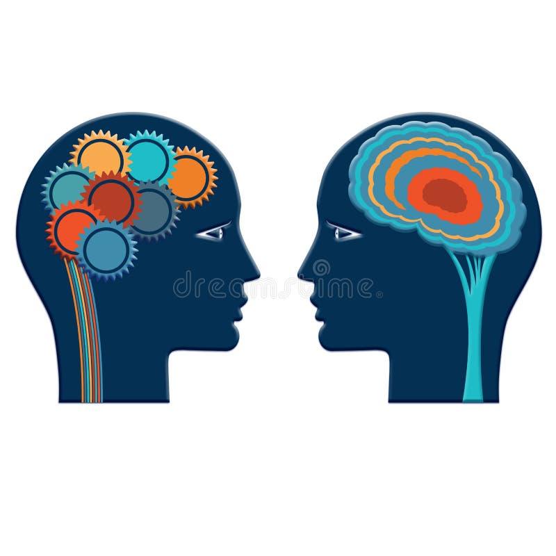 Kolor przekładni koła i myśl koloru mózg, rozsądnego i kreatywnie, royalty ilustracja
