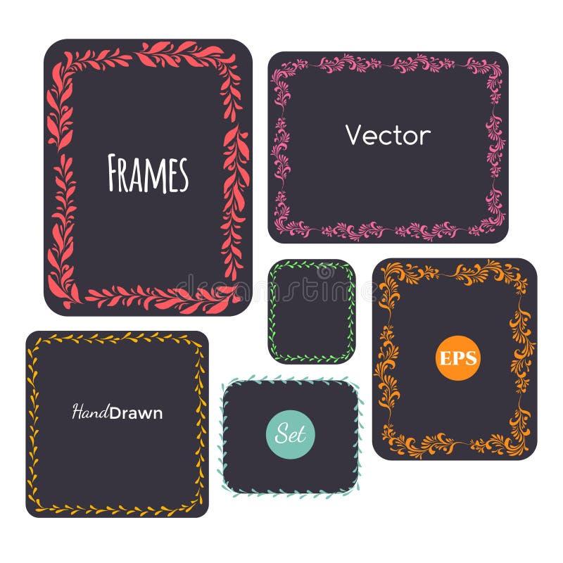 Kolor ręki rysować ramy ustawiają, Wektorowi elementy, kwieciści, liście ilustracja wektor