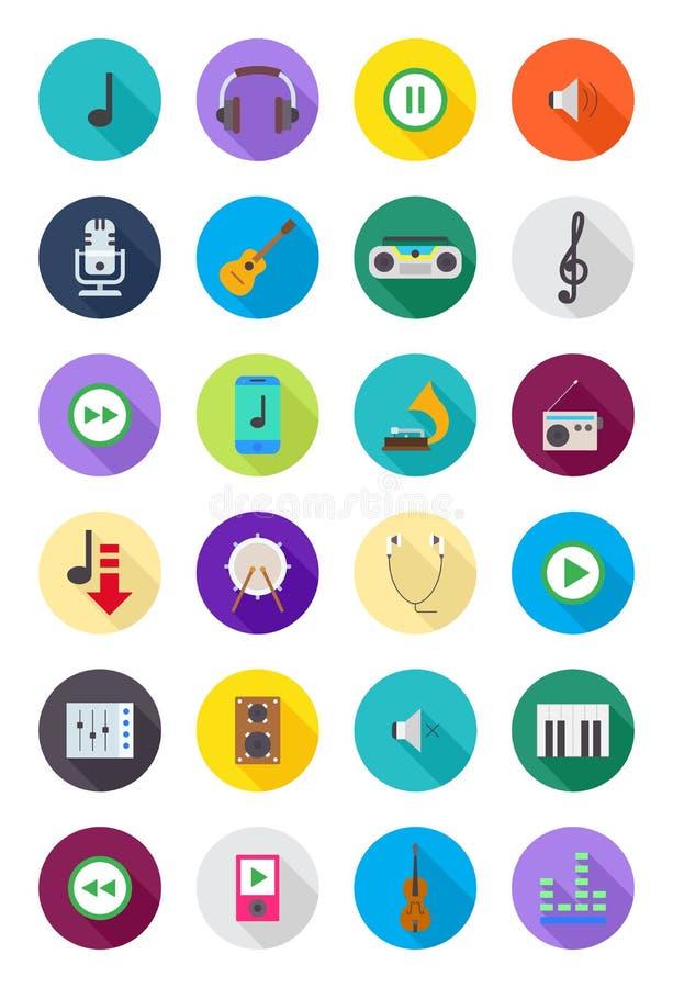 Kolor round muzyczne ikony ustawiać royalty ilustracja